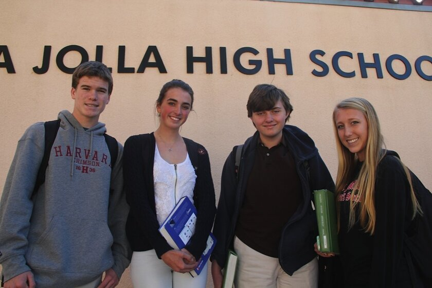 Left to right: La Jolla High School sophomore Jack Frager, senior Freja Ekman, freshman Clayton Halbert and junior Brittany Black (Junior). Courtesy