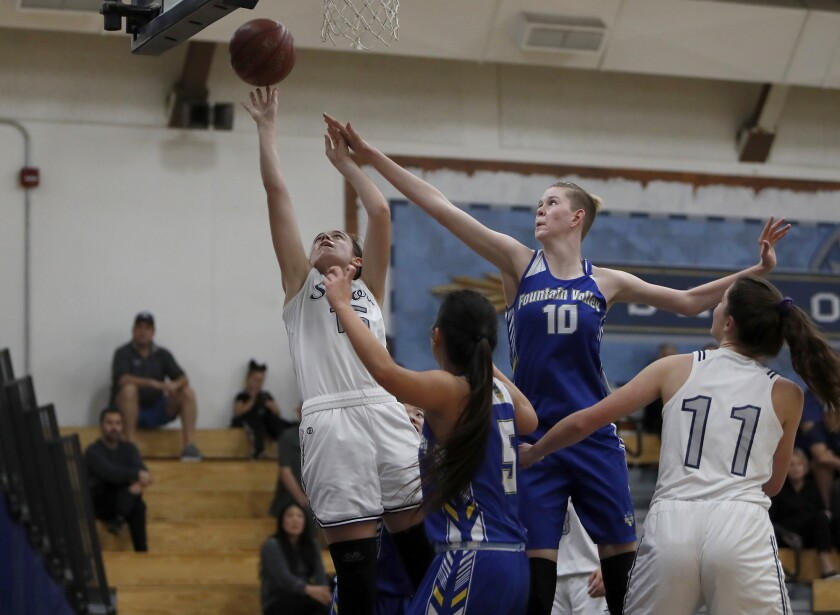 Newport Harbor's Willa Rath, left, competes against Fountain Valley's Zoe Ziegler  on Jan. 18, 2020.