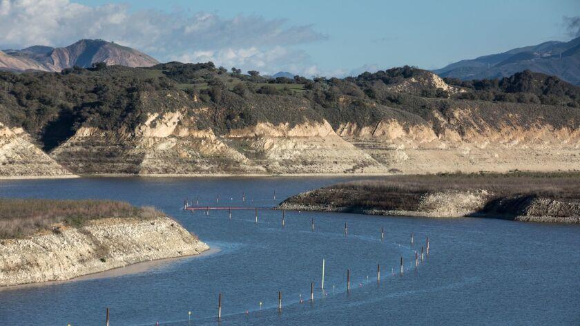 SANTA BARBARA COUNTY, CALIF. -- WEDNESDAY, JANUARY 25, 2017: Lake Cachuma is currently at 13% of it