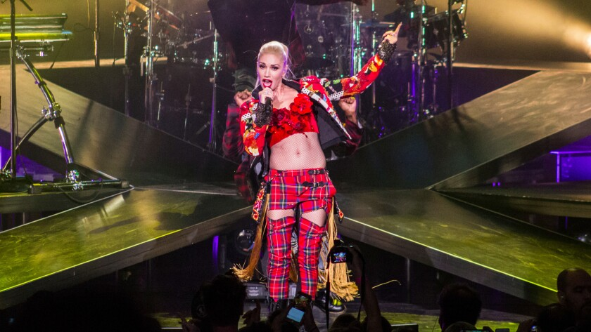 Gwen Stefani performs Tuesday night in Mansfield, Mass.