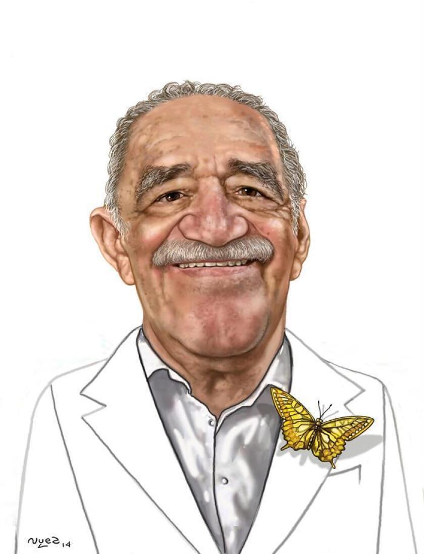 """Fotografía cedida por The H(umor) Project, donde se aprecia una caricatura del escritor colombiano Gabriel García Márquez, realizada por Raúl de la Nuez, que forma parte de la exposición """"Realismo Mágico y García Márquez"""". EFE/The H(umor) Project/SOLO USO EDITORIAL/NO VENTAS"""