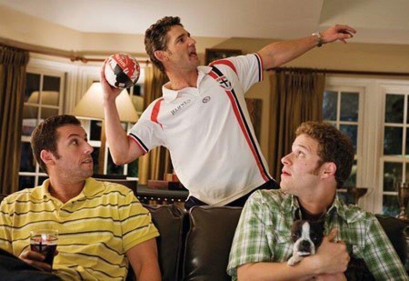 "Seth Rogen plays Ira (right), who befriends Adam Sandler's George (left); Eric Bana is Clarke in ""Funny People "". (Universal Studios)"