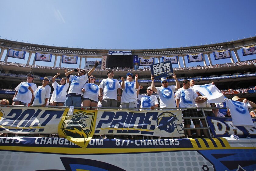 Fans spell out Save Our Bolts at the Chargers-Lions game at Qualcomm Stadium.