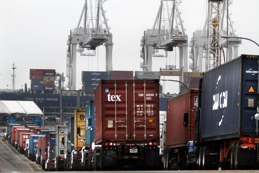 Trucks wait to enter the Port of Long Beach.