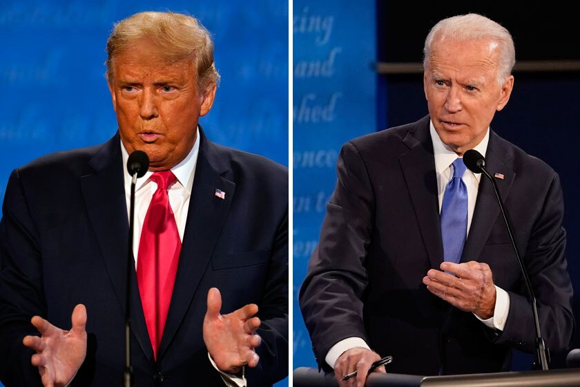 President Trump and Democratic challenger Joe Biden at debate podiums