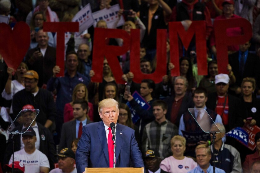 Republican presidential nominee Donald Trump speaks during a rally at Mohegan Sun Arena in Wilkes-Barre, Pennsylvania, on Oct. 10, 2016.