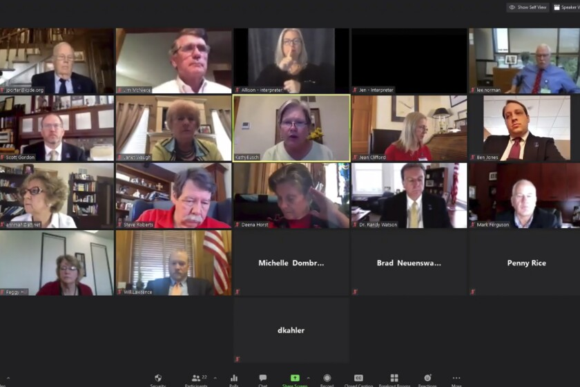 Members of the Kansas State Board of Education meet via Zoom with staffers and other officials in July.