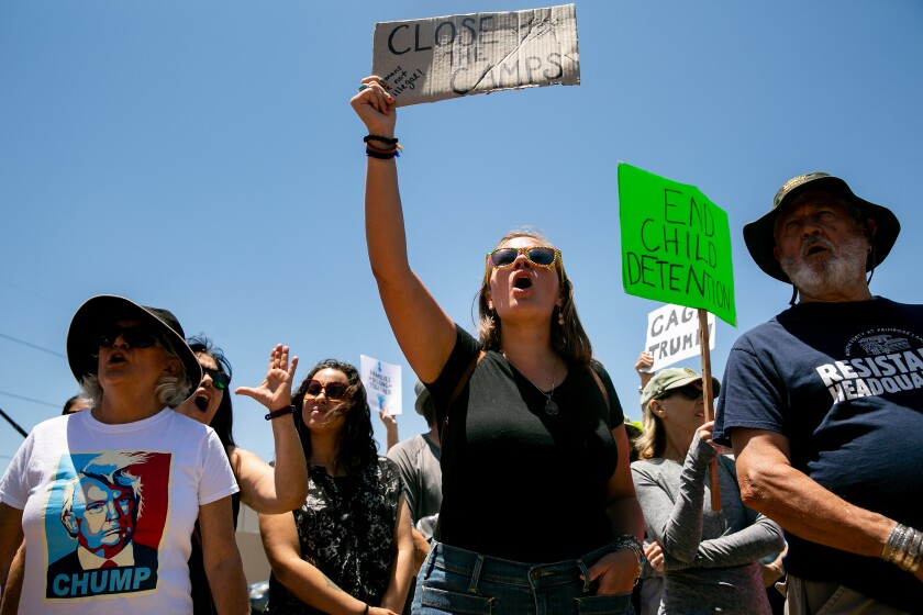 "Protesters rally outside of the Otay Mesa Detention Center on July 2, 2019 in San Diego, California. The ""Close the Camps"" demonstration was part of nationwide protests scheduled for Tuesday."
