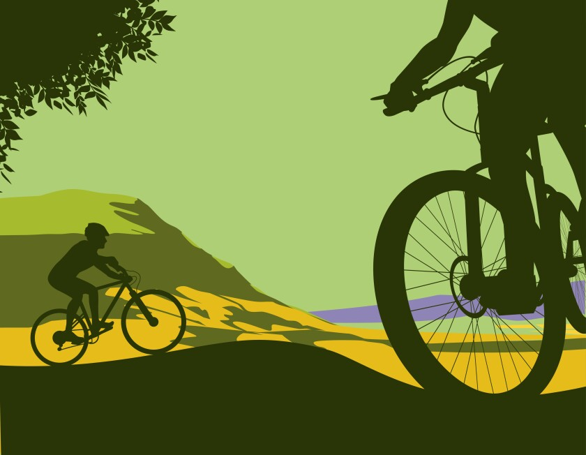 Illustration of two mountain bikers against hills