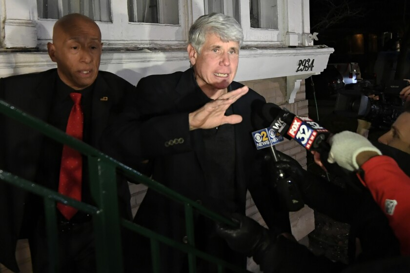 FILE - In this Wednesday, Feb. 19, 2020, file photo, former Illinois Gov. Rod Blagojevich waves to a supporter as he arrives home in Chicago after his release from prison. On Tuesday, June 1, 2021, a federal judge put an early end to Blagojevich's two-year period of supervised release. (AP Photo/Paul Beaty, File)