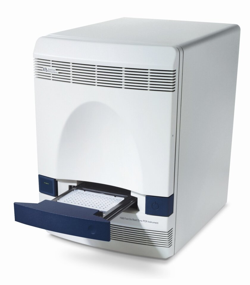 The new rapid-detection test for Ebola uses the Applied Biosystems 7500 series from Thermo Fisher Scientific, which acquired the technology when it purchased Life Technologies in Carlsbad. / courtesy photo
