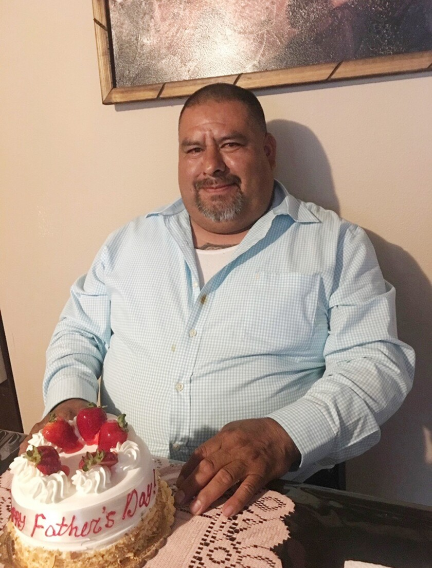 Gaspár Gómez with a Father's Day cake
