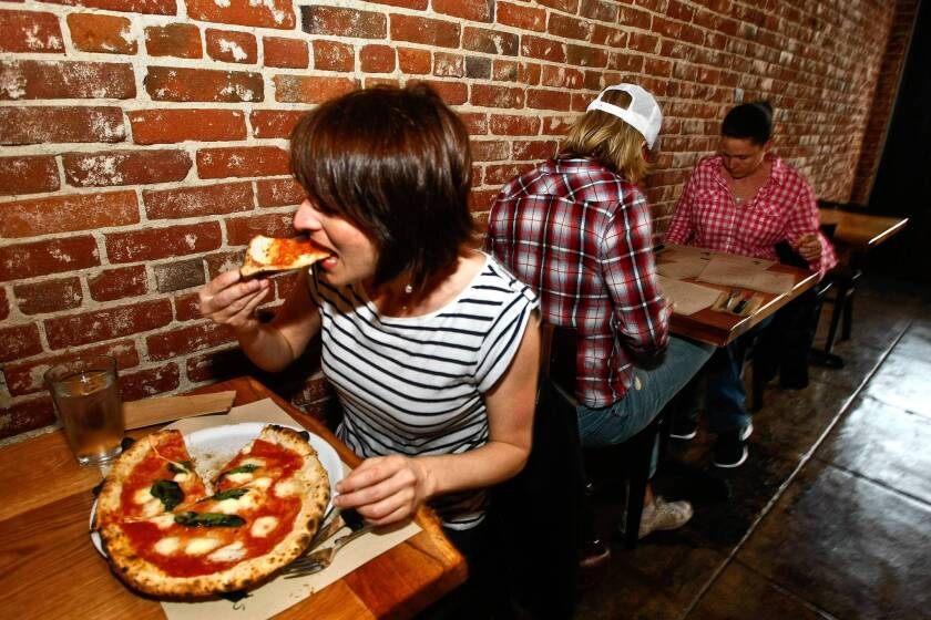The Margherita pizza at Mother Dough in Los Feliz is made with bufala mozzarella, San Marzano tomato sauce and basil.