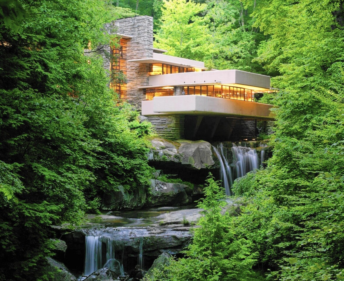 A major tourist attraction today, Frank Lloyd Wright's Fallingwater was built in the '30s for department store owners Liliane and Edgar Kaufmann.