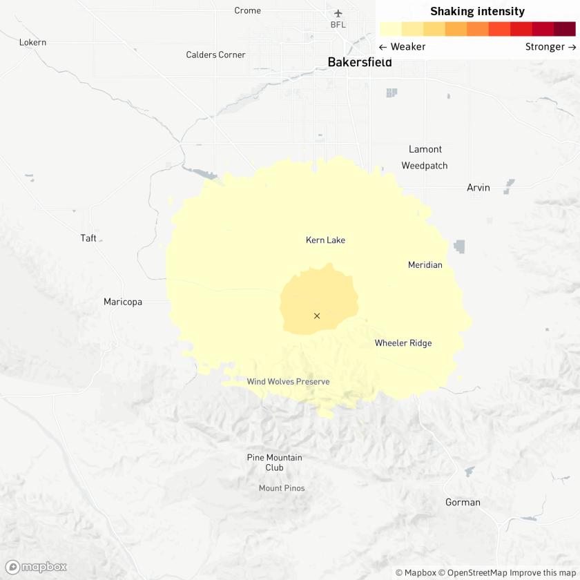 Map of 3.6 earthquake