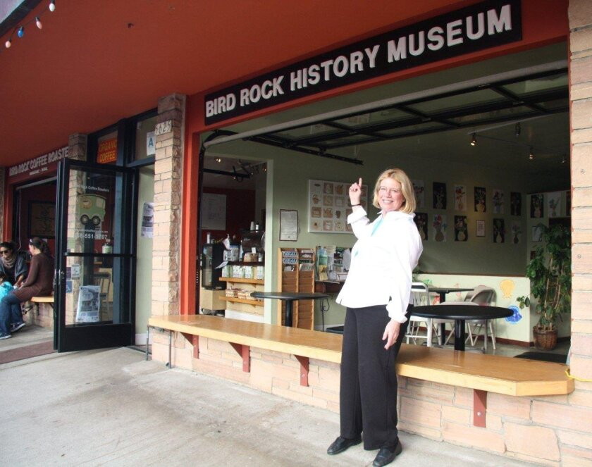 Philomene Offen at the 2009 debut of the Bird Rock History Museum inside Bird Rock Coffee Roasters at 5627 La Jolla Blvd. Her storyboards wil be replaced by the works of area artists.