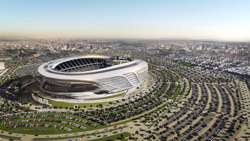 An artist's rendering of the proposed new stadium for the Chargers and Raiders in Carson.