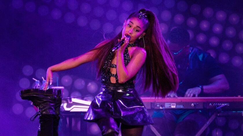 LOS ANGELES, CA - JUNE 2, 2018: Ariana Grande performs during the Wango Tango concert at Banc of Ca