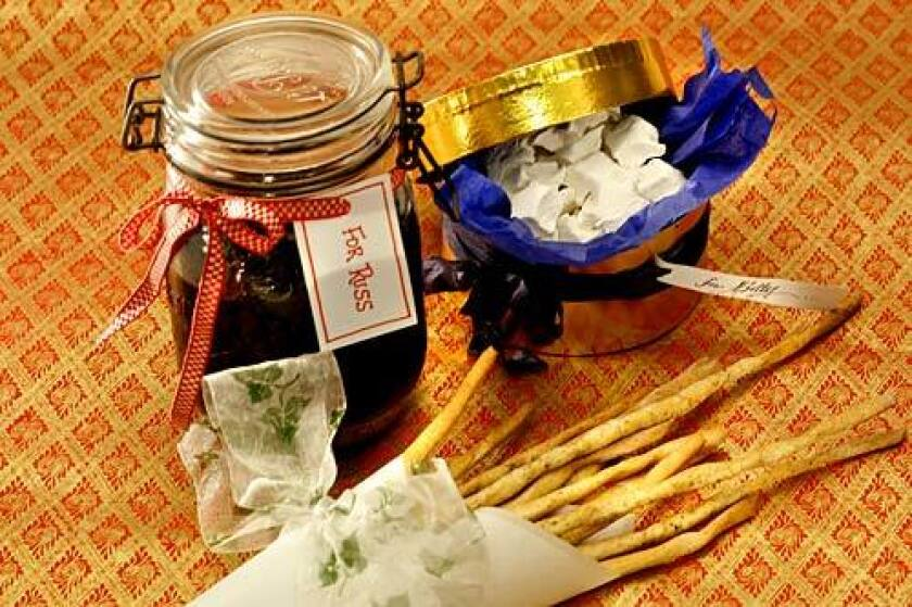 HOMEMADE: Marshmallows, bread sticks, prunes in armagnac.