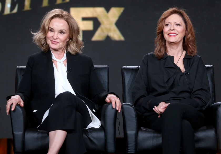 """Jessica Lange, left, and Susan Sarandon, who star in the upcoming FX series """"Feud,"""" speak at the Television Critics Assn. press tour in Pasadena on Jan. 12."""