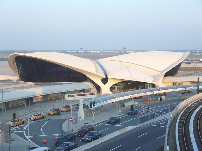 The gull-winged landmark that is the TWA Flight Center at JFK Airport.