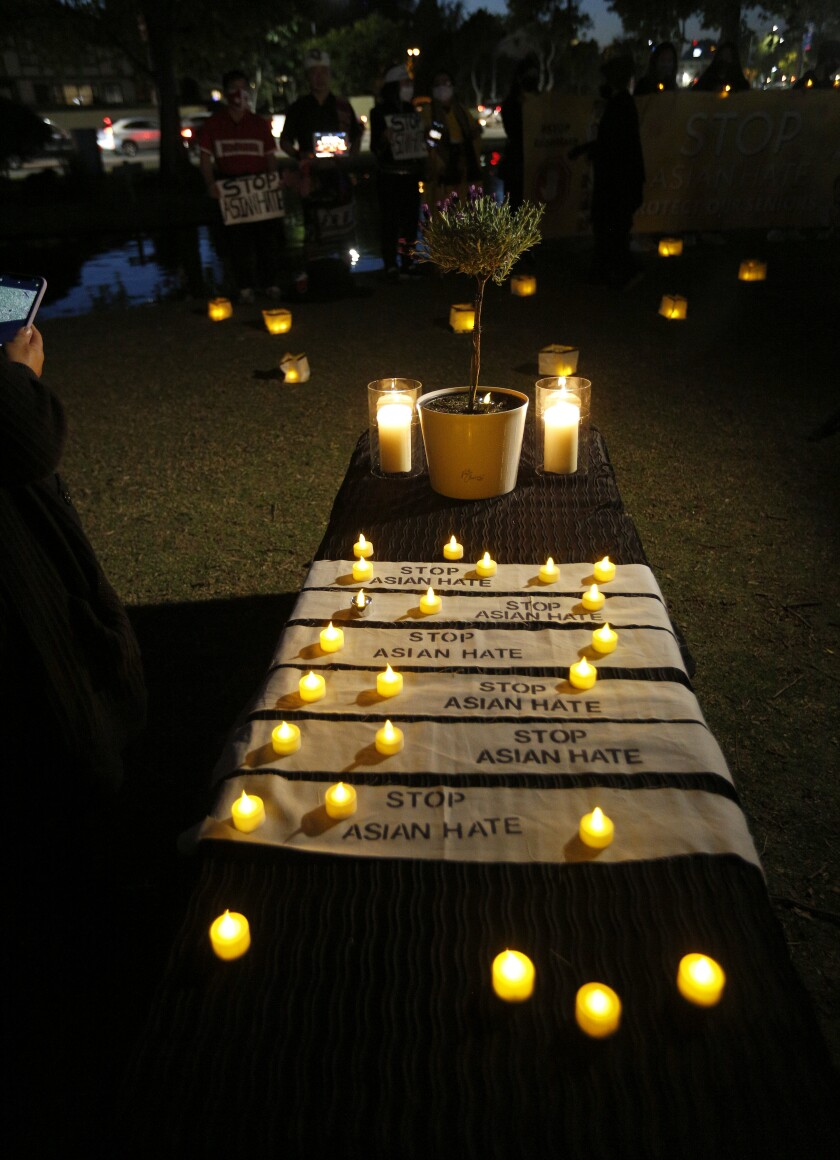 A candlelight vigil at Community Center Park in Garden Grove on March 23, 2021.