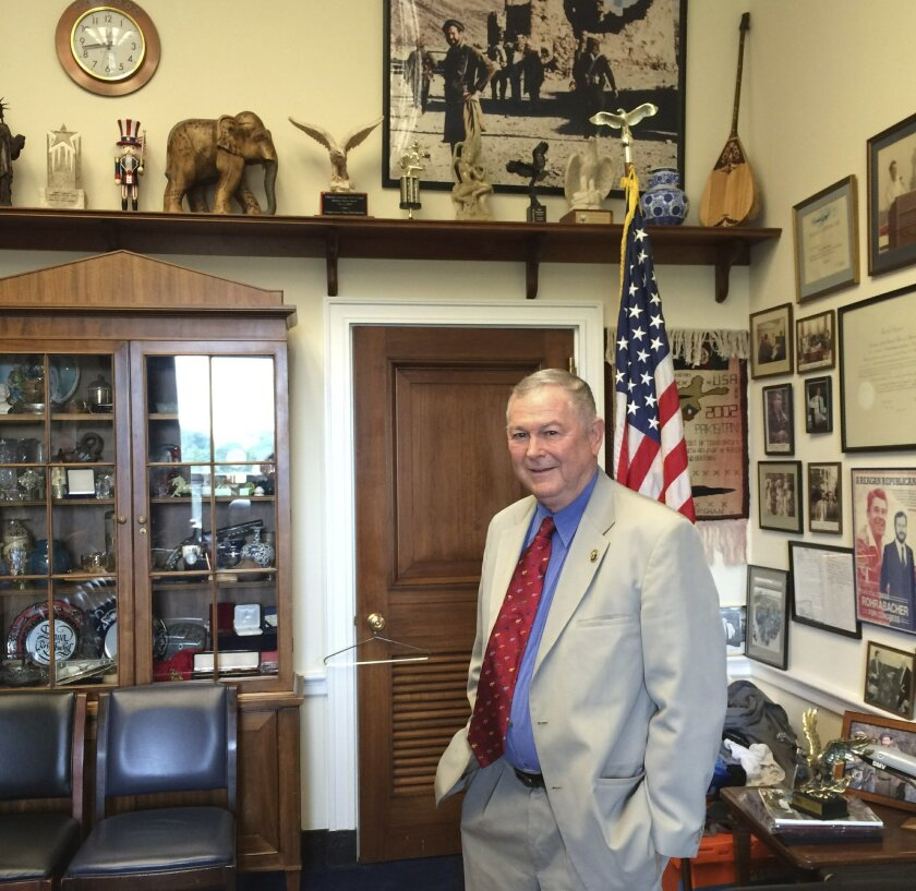 "In this photo taken June 23, 2016, Rep. Dana Rohrabacher, R-Calif. is seen in his office on Capitol Hill in Washington. The 69-year-old, self-described ""surfer Republican"" has long been a lone pro-Russian voice on Capitol Hill, defending Putin and urging dialogue with the Kremlin. This past spring,"
