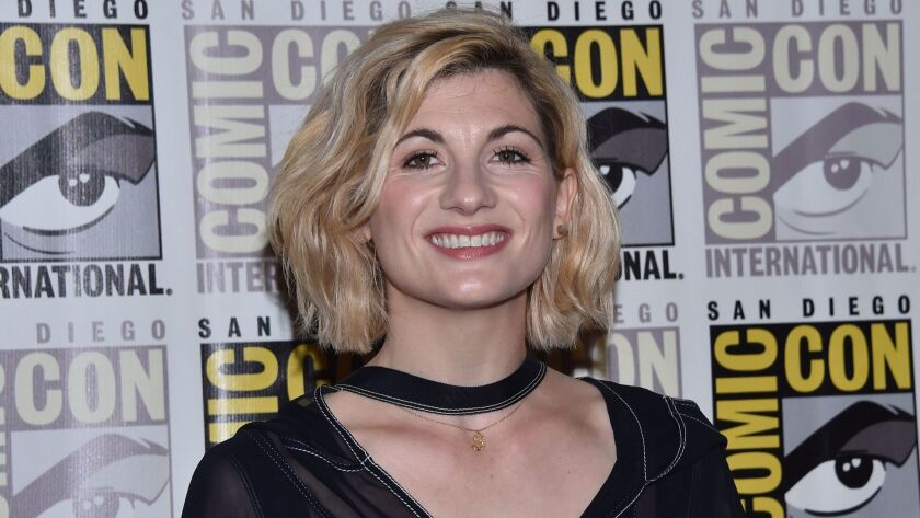 "Jodie Whittaker arrives for the photo call of ""Doctor Who"" during Comic Con in San Diego on July 19, 2018."