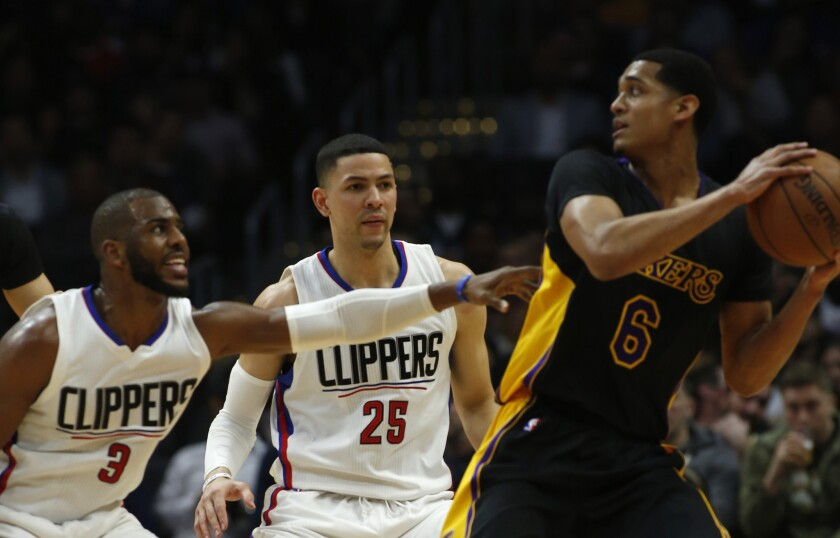 Lakers' Jordan Clarkson (6) looks to pass against Clippers' Chris Paul (3) and Austin Rivers during the first quarter of a game on Jan. 29.