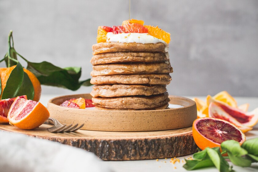"""No dairy products are required for Rachel Conners' Fluffy Vegan Pancakes, from """"Bakerita."""""""
