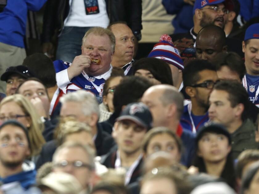 Toronto Mayor Rob Ford attends Sunday's game between the Buffalo Bills and Atlanta Falcons in Toronto.