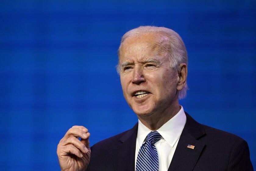 El presidente electo Joe Biden habla en Wilmington, Delaware.