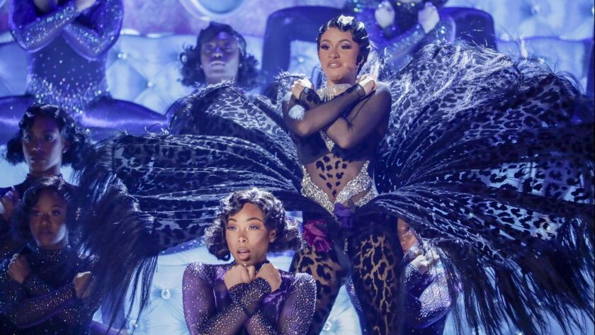 LOS ANGELES, CA - February 10, 2019 at Cardi B performs onstage at the 61st GRAMMY Awards at STAPLE