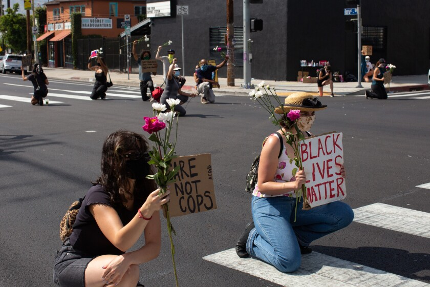 Protesters with Black Future Project occupy a Boyle Heights intersection June 23.