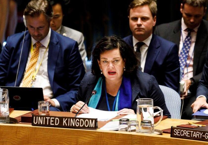 La embajadora británica ante Naciones Unidas, Karen Pierce, pronuncia su discurso durante una reunión de emergencia del Consejo de Seguridad de la ONU ante los últimos detalles sobre la investigación al ataque con gas nervioso Novichok contra el exespía ruso Serguéi Skripal y su hija Yulia en Salisbury, en la sede de las Naciones Unidas de Nueva York (EE.UU), hoy, 6 de septiembre de 2018. EFE