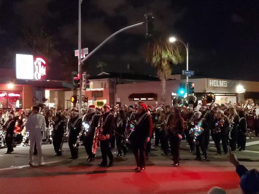 Here comes the Point Loma High School marching band.