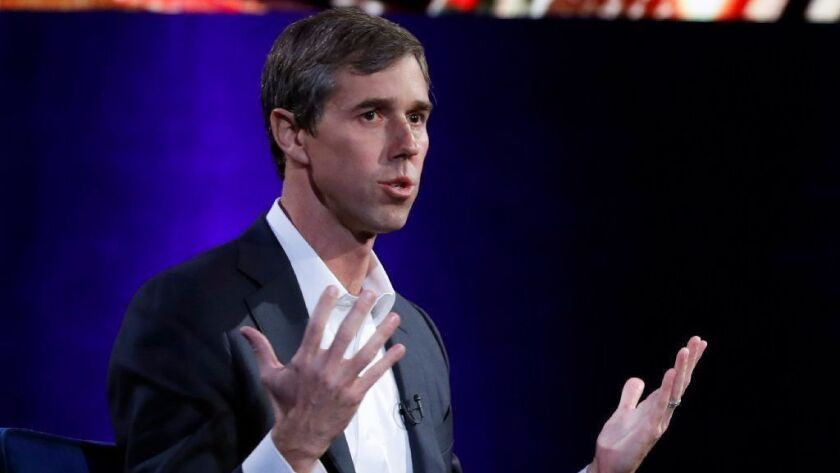 Beto O'Rourke speaks during an interview with Oprah Winfrey in New York on Feb. 5, 2019.