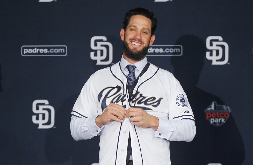 Pitcher James Shields was introduced on Wednesday.
