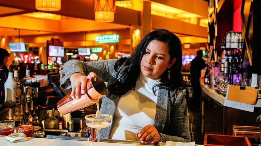 SAN DIEGO, CA October 16th, 2018 | Grace Skarra, casino operations and beverage manager, mixes some