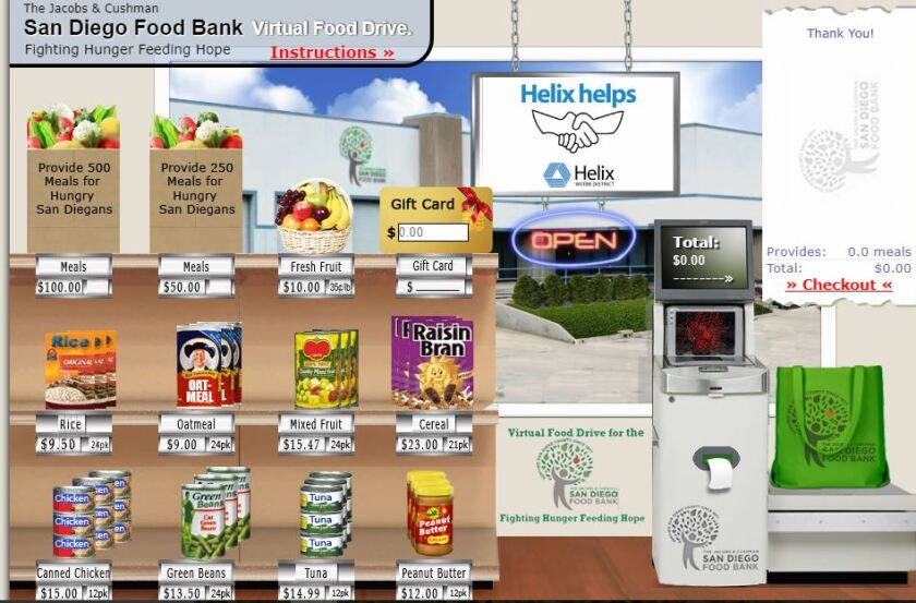"""A screenshot of the """"Helix Helps"""" virtual shopping page on the Jacobs & Cushman San Diego Food Bank website. Those looking to donate food items through the Helix Water District can visit this link: https://hwd.fyi/food"""