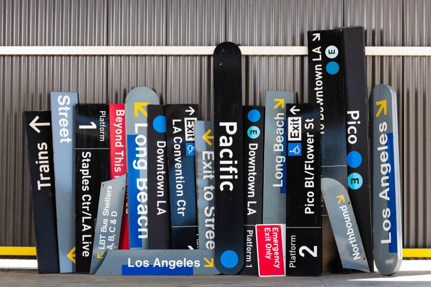 A sampling of the Blue Line signs retired by the L.A. County Metropolitan Transportation Authority.