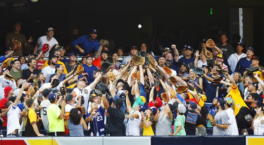 Fans go for a home run ball during the All Star Game Home Run Derby at Petco Park.