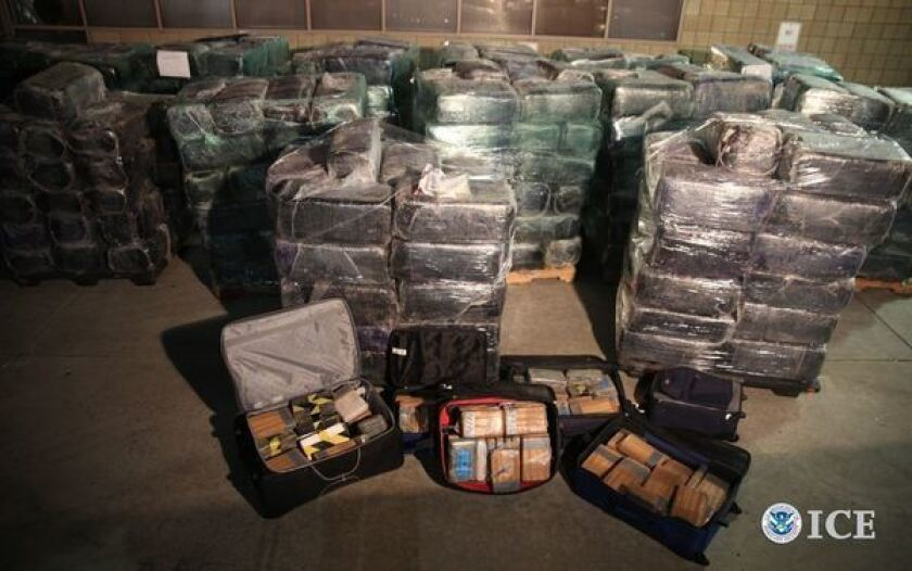 Drugs that federal authorities say were seized in connection with a cross-border tunnel near Otay Mesa in San Diego County.