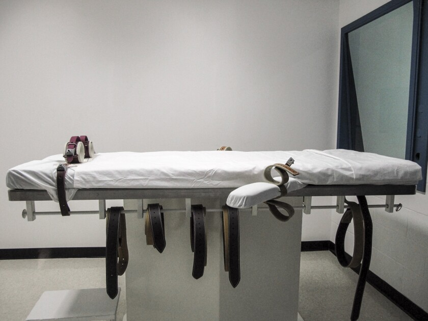 FILE - This July 7, 2010, file photo shows Nebraska's lethal injection chamber at the State Penitentiary in Lincoln, Neb. In 2021, two people convicted of a grisly murder could be sentenced to death. But as the state adds to its death row population, it has no lethal injection drugs and very likely won't get any for years, if ever. Those sentenced to death have a better chance of dying of natural causes than being executed. (AP Photo/Nate Jenkins, File)