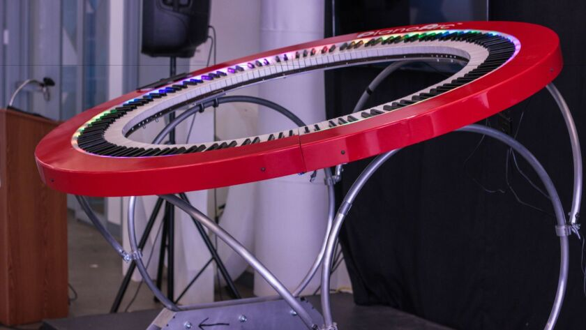 This Hula-hoop shaped piano has 288 keys that can be programmed to sound like a classic piano, a keyboard, an organ and any number of instruments. It's electronics and software are the work of San Diegan Dave Starkey.