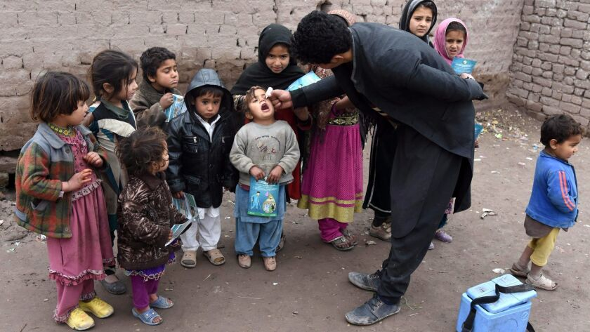 Children gather to receive polio vaccines from a health worker in Jalalabad, Afghanistan.