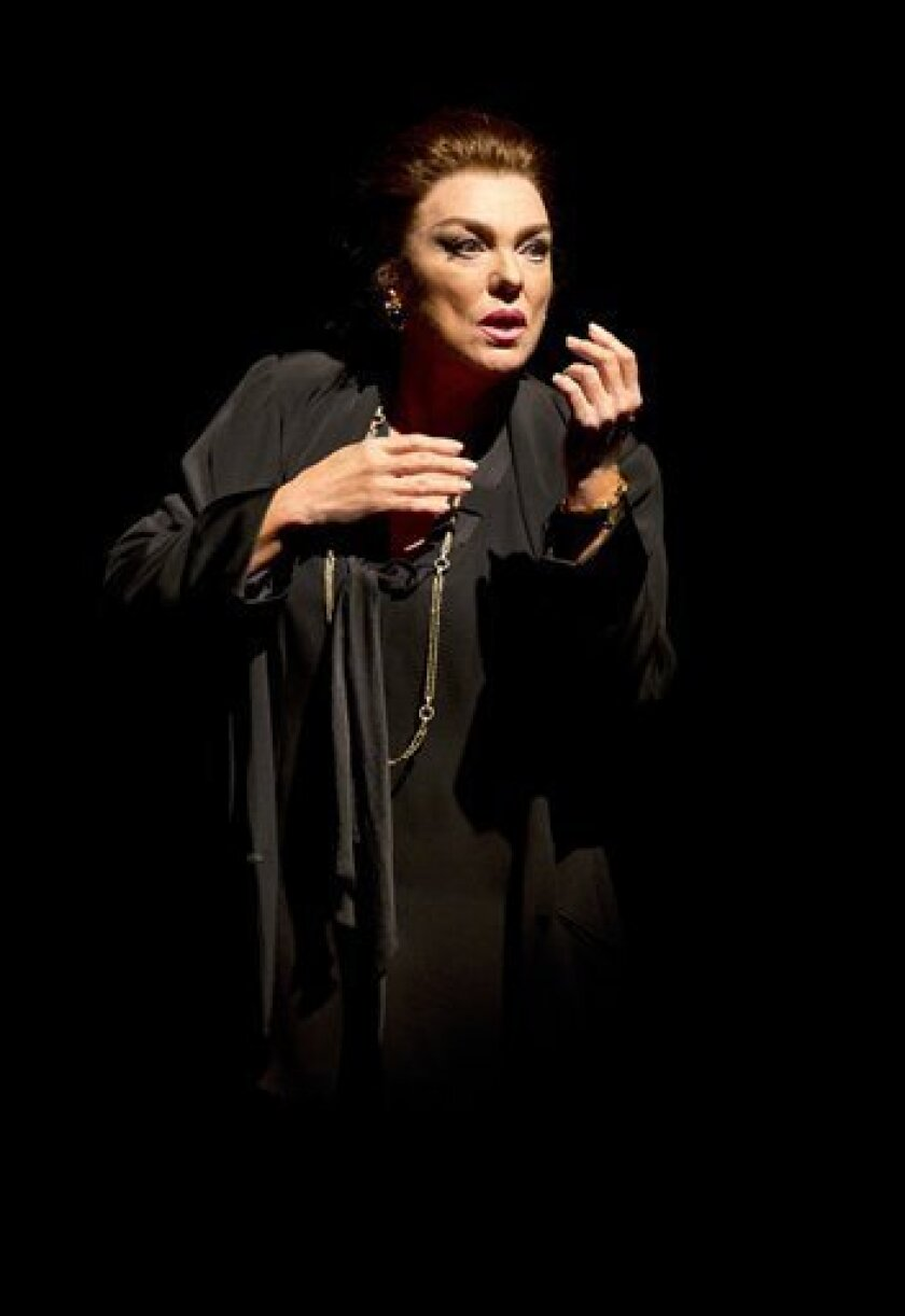"""In this undated theater publicity image released by Boneau/Bryan-Brown, Tyne Daly portrays Maria Callas in a scene from """"Master Class,"""" in New York. (AP Photo/Boneau/Bryan-Brown, Joan Marcus)"""
