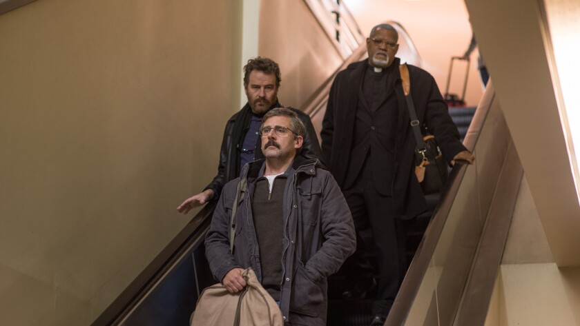 """Bryan Cranston, from left, Steve Carell and Laurence Fishburne in the film """"Last Flag Flying."""""""