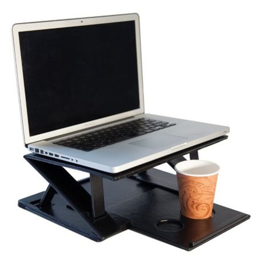 The double-decker Aero-Tray gives you a place to work and have coffee too when you're in cramped airplane quarters.