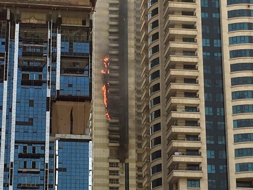 Fire in Sulafa tower in Dubai Marina